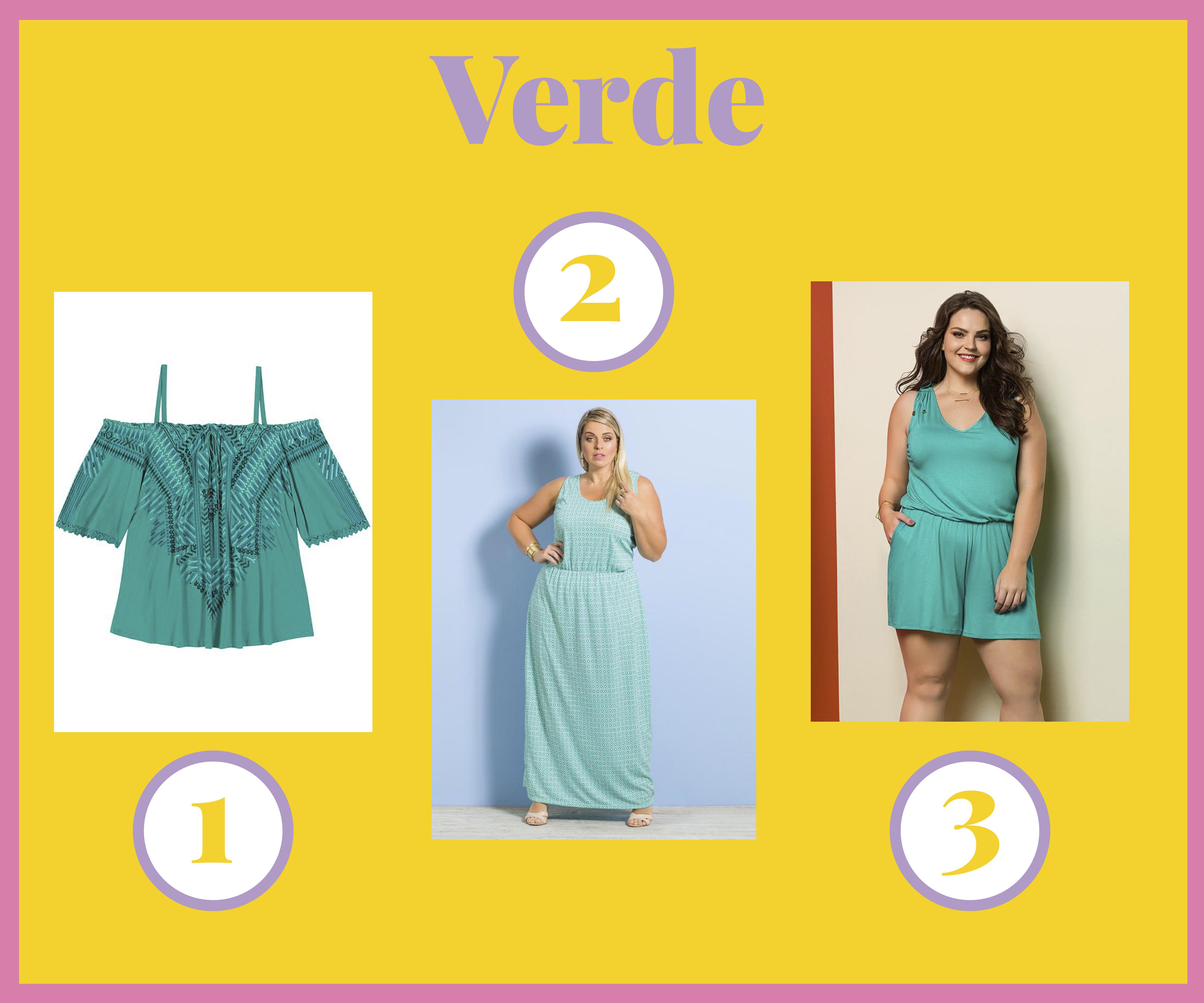 f39e15e1bb 1- Blusa Cigana de Malha Plus Size Verde Lisamour 2- Vestido Longo  Marguerite Estampa Gravataria 3- Macacão Feminino Verde Wee